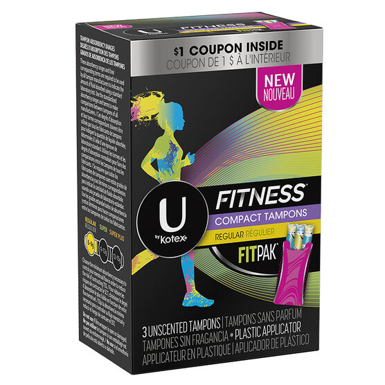 U by Kotex Fitness Compact Tampons - Regular - 3's