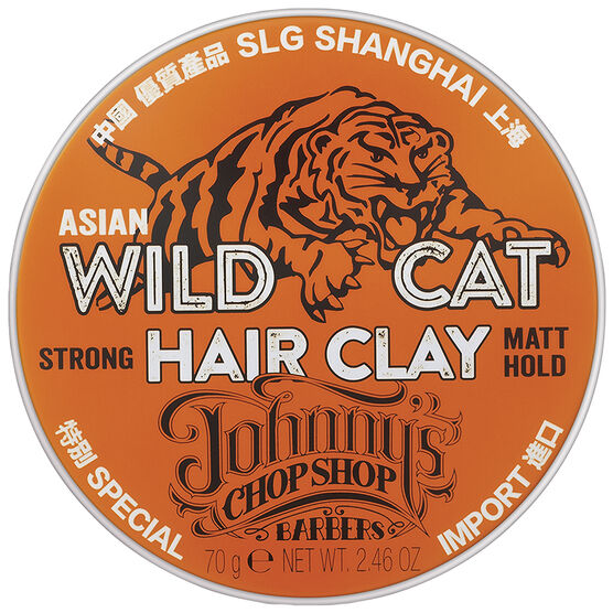 Johnny's Chopshop Asian Wild Cat Hair Clay - Strong Matt Hold - 70g