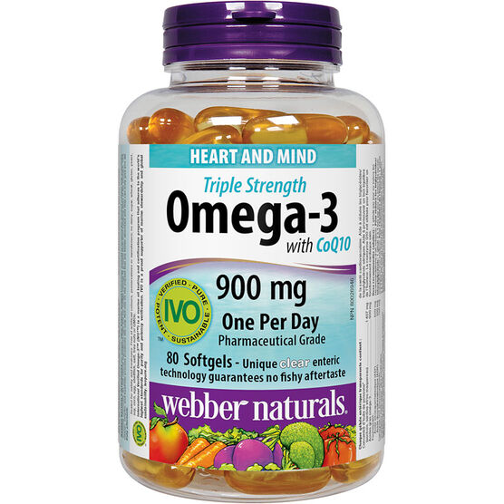 Webber Naturals Triple Strength Omega-3 with CoQ10 900mg - 80's