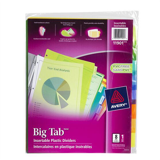 Avery Big Tab Insertable Plastic Dividers - 8-Tab set - 11901