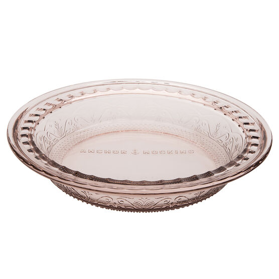 Anchor Hocking Laurel Embossed Glass Pie Dish - Rosewater - 9.5in