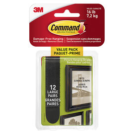 3M Command Picture Hanging Strips - Black - Large - 12's