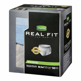 Depend Real Fit Briefs For Men - Maximum Absorbency - Small/Medium - 12's