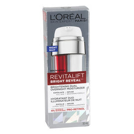 L'Oreal Revitalift Bright Reveal Brightening Dual Overnight Moisturizer - 30ml