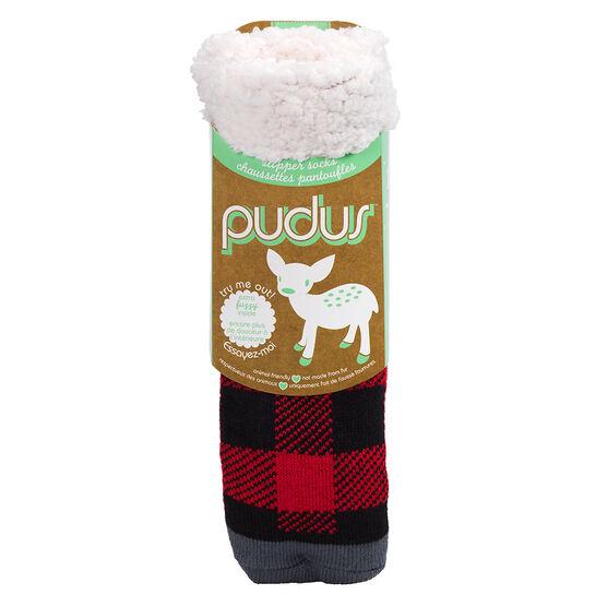 Pudus Brand Slipper Socks - Lumber Jack Blue