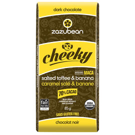 Zazubean Cheeky Dark Chocolate Bar - Salted Toffee and Banana - 85g