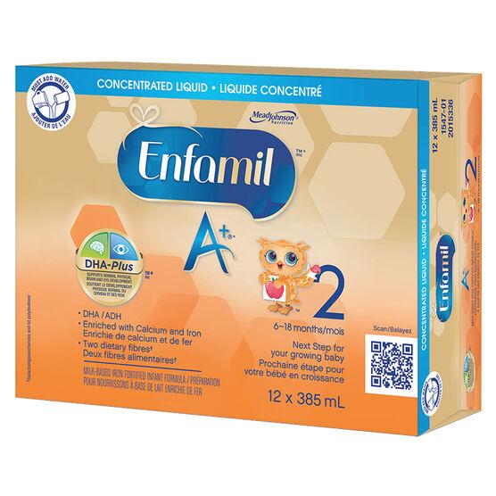 Enfamil A+ 2 Concentrated Liquid Infant Formula - 12 x 385ml