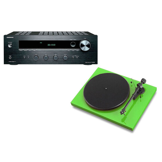Pro-Ject Debut III Manual Turntable - Green + Onkyo Stereo Receiver -PKG #17367