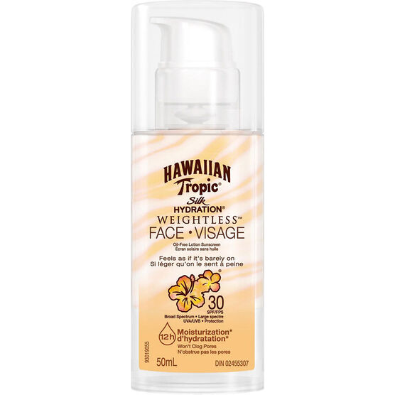 Hawaiian Tropic Silk Hydration Weightless Face Sunscreen Lotion - SPF30 - 50ml