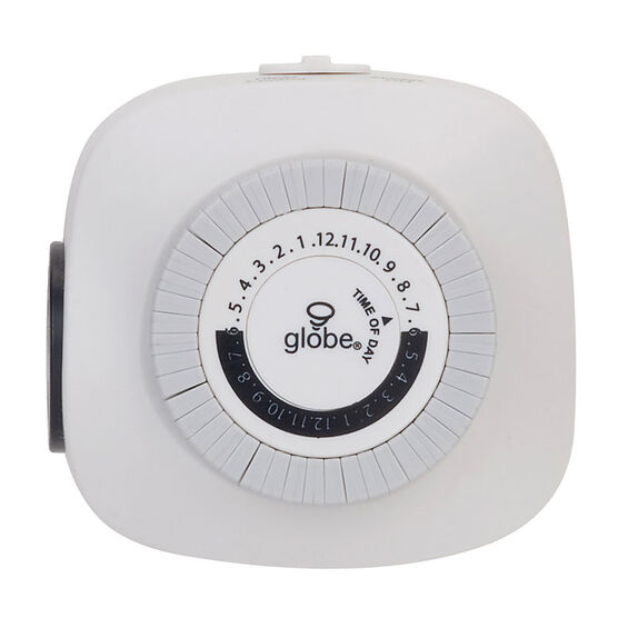 Globe Indoor Mechanical Timer - White