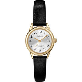 Timex Carriage Mid Size Leather Watch - Black/Gold