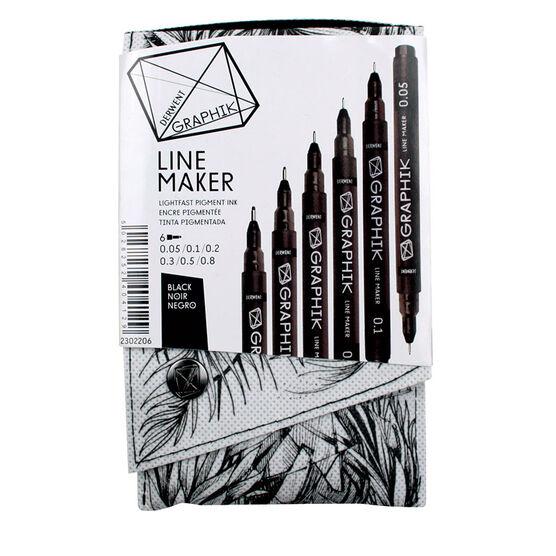 Derwent Graphik Line Marker - Black - 6 pack