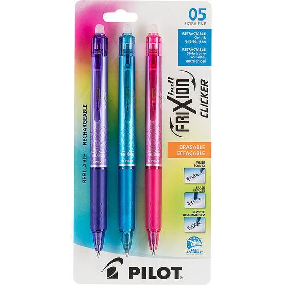 Pilot FriXion Ball Clicker Erasable Pen - 3 pack