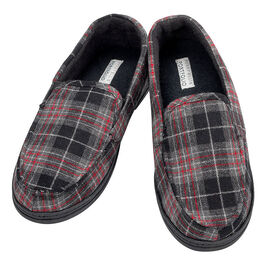 Perry Ellis Moccasin Slippers - Black/Red