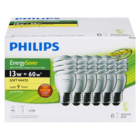 Philips CFL Lightbulb - Soft White - 13w/6pack