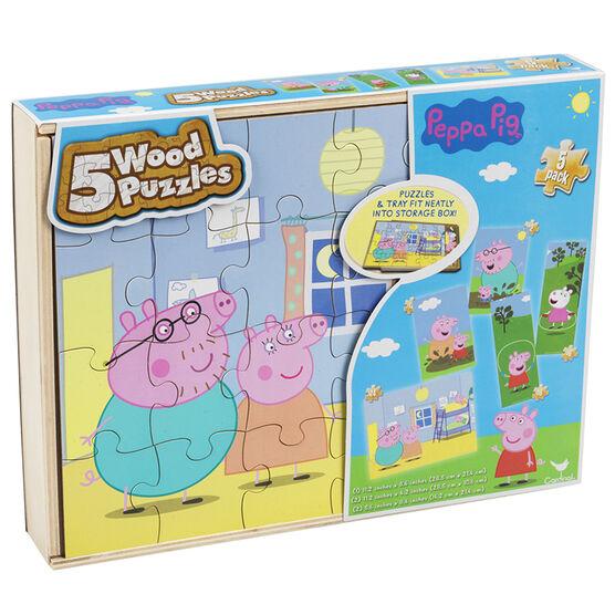 Peppa Pig Wood Puzzles - 5 pack