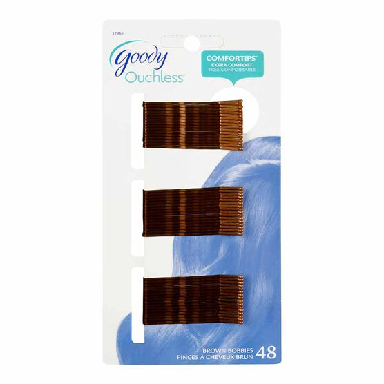 Goody Ouchless Bobby Pins - Brown - 2-inch - 48's