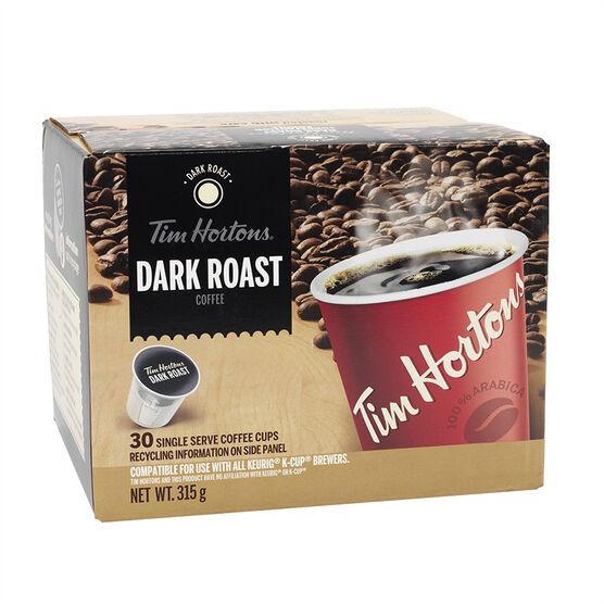 Tim Hortons Dark Roast Coffee - Single Serve Coffee - 30 Servings