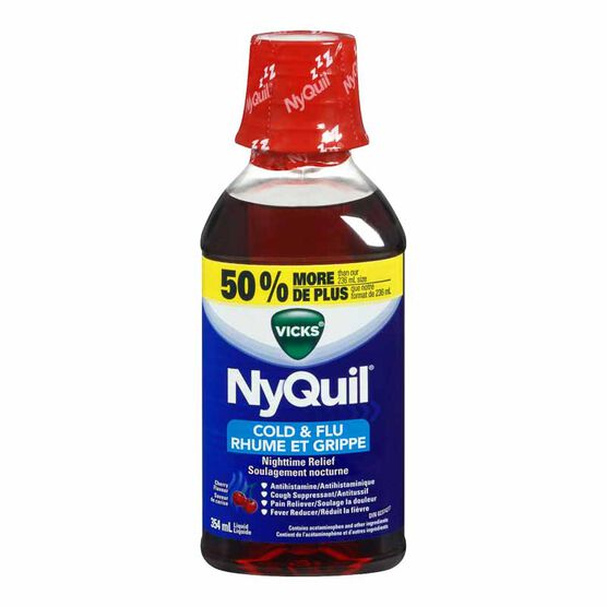 Vicks Nyquil Liquid for Cold and Flu - Cherry -354ml