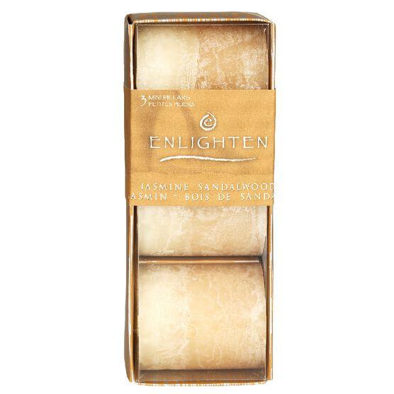 Enlighten Mini Pillar Candles - Jasmin Sandalwood - 3 pack