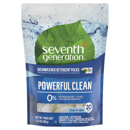 Seventh Generation Dishwasher Detergent Pacs - Free & Clear - 20's