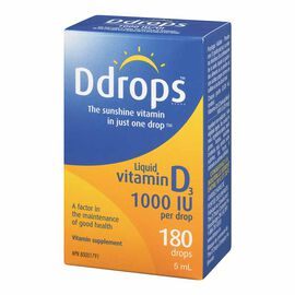 Ddrops for Adults 1000IU of Vitamin D3 - 180 Drops
