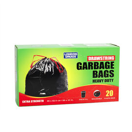 London Drugs Heavy Duty Drawstring Garbage Bags - Black - 20's