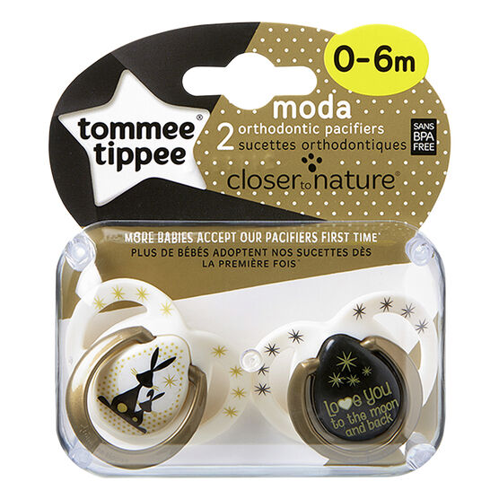 Tommee Tippee Closer to Nature Moda Pacifier - 0-6 Months - 2 pack - Assorted