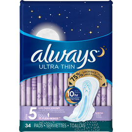 Always Ultra Thins Overnight Size 5 - Extra Heavy - 34's
