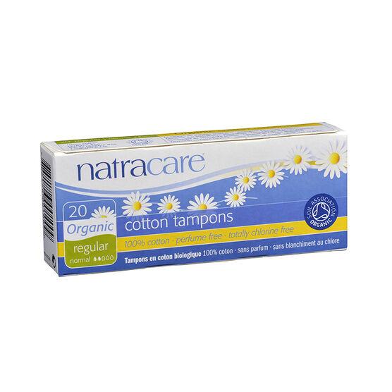 Natracare 100% Certified Organic Cotton Tampons - Regular - 20's