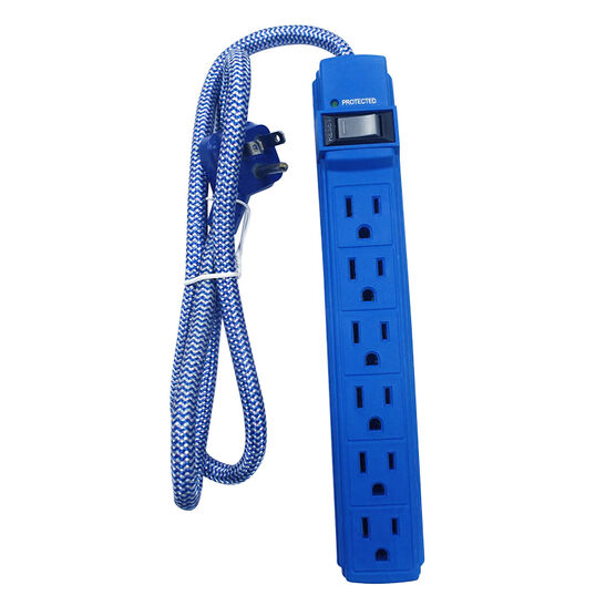 Certified Data Power Surge Bar Protector - Blue - FS-068BLUE
