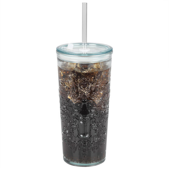 London Drugs Green Glass Coca-Cola Cup with Lid and Straw - 500ml