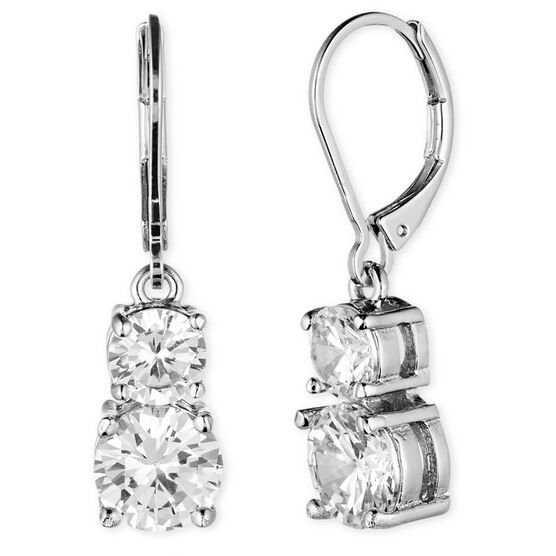 Anne Klein Leverback Stone Drop Earrings - Silver