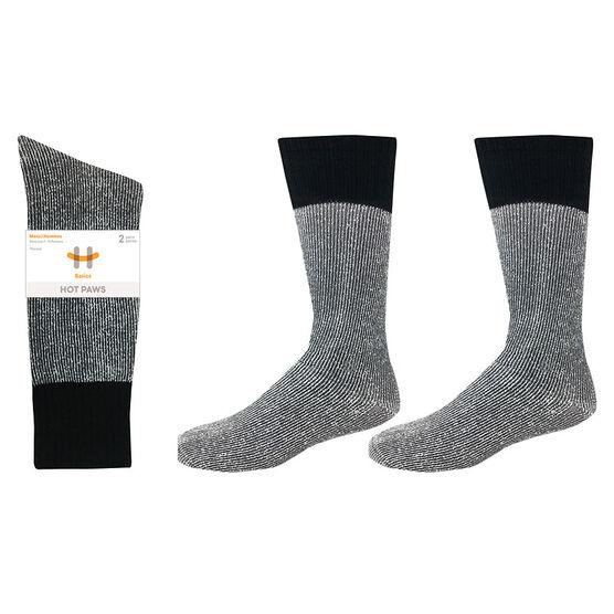 Hot Paws Thermal Socks - Grey/Black - Sizes 10-13 - 2 Pairs