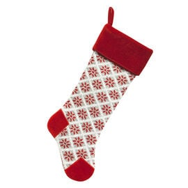 Christmas Knitted Snowflake Stocking - Grey - 21.5in