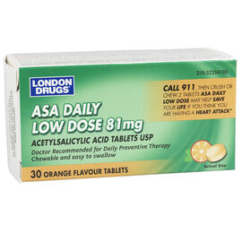 London Drugs ASA Daily Low Dose - Orange Chewable - 81mg - 30's