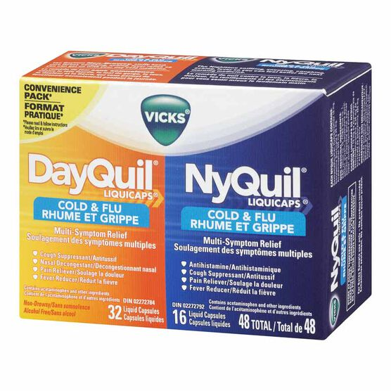 Vicks DayQuil/ Nyquil Liquicaps for Colds and Flu - 48'S