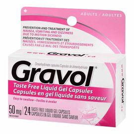 Gravol Adults Taste Free Liquid Gel Capsules 50mg - 24's