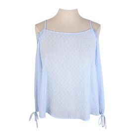 Lava Exposed Shoulder Long-sleeved Blouse - Cool Blue