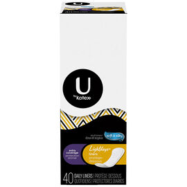 U by Kotex Lightdays Odour Absorbing Liners - Long - 40's