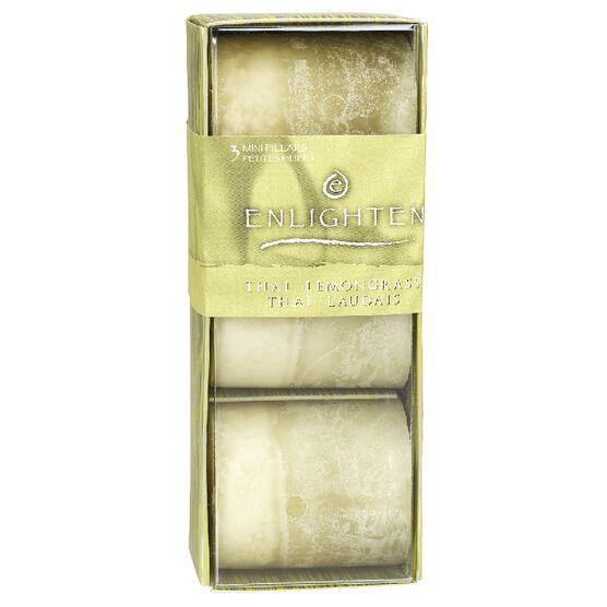 Enlighten Mini Pillar Candles - Thai Lemon Grass - 3 pack