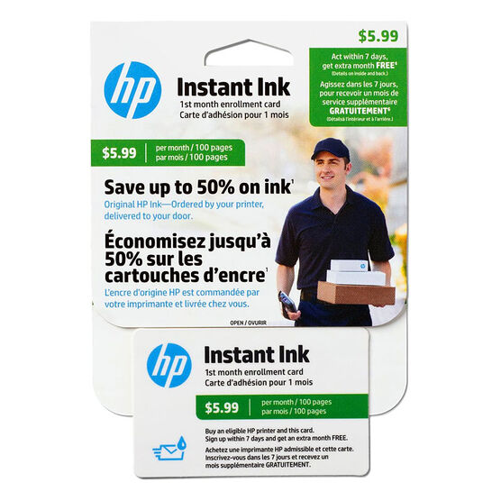 HP Instant Ink Enrollment Card - 100 Pages Monthly - J3N17AC