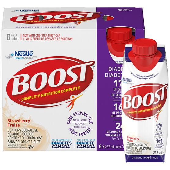 Boost Diabetic Drink - Strawberry  - 6 x 237ml