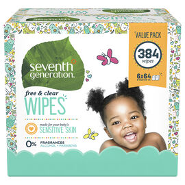 Seventh Generation Free and Clear Baby Wipes - 384's