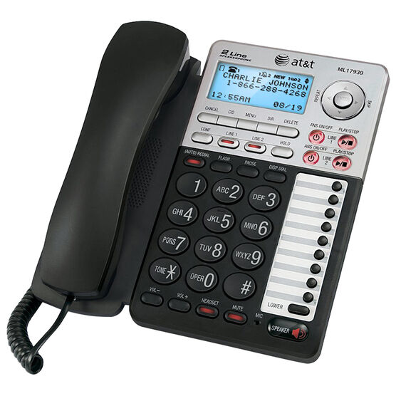 AT&T 2-Line Corded CID Office Phone - Black - ML17939