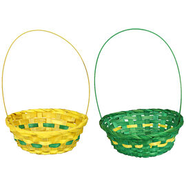 Easter Bamboo Weave Basket - Assorted - 8in