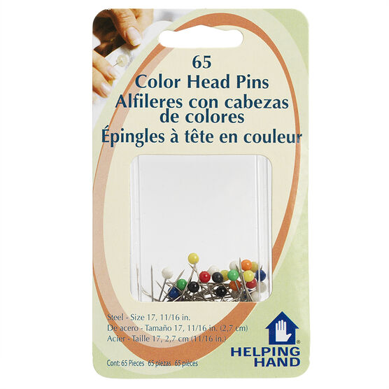 Helping Hand Colour Head Pins - 65 pack