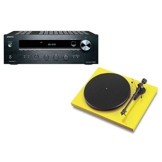 Pro-Ject Debut III Manual Turntable - Yellow + Onkyo Stereo Receiver -PKG #17364