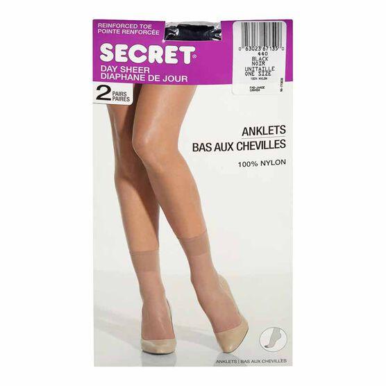 Secret Day Sheer Anklets - Black - 2 pair