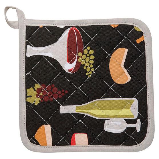 Kitchen Style Basic Potholder - Wine and Cheese